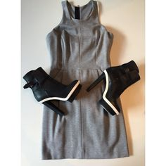 Milly Heather Grey Dress & Balenciaga Heels #ShopMintATL #DesignerConsignment l Call 404-343-2033 for sizes & prices