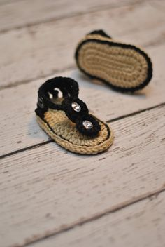 Crochet Baby Gladiator Sandals in Black by Adorably Hooked