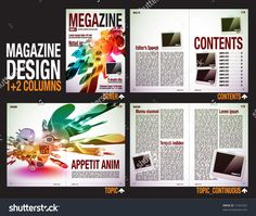 Magazine Layout Design Template With Cover + 6 Pages (3 Spreads ...