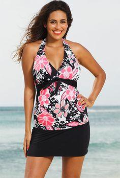 a69d6fe2d30b2 Shore Club Rosewood Plus Size Tie Front Halter Slit Skirtini Black Swimsuit