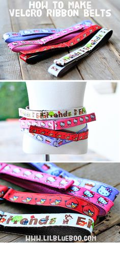 Definitely making some of these for my youngest daughter this week! How to make ribbon velcro belts v American Girl Accessories, Girls Accessories, Sewing For Kids, Diy For Kids, Sewing Tutorials, Sewing Projects, Sewing Crafts, Sewing Patterns, Diy Projects