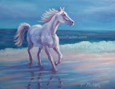 horses running in surf | ... Painting of Horse at the Beach, Running in the Surf, by Theresa Paden