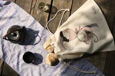 Natural Colored Large Bread Bag ~Prinsesa and Violina~, Laundry dawstring bag,travel storage bag, food bag, reusable multi-purpose