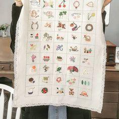 "500 Likes, 10 Comments - 마로 (@maro_embroidery) on Instagram: ""예쁘게 완성된 미희씨의 스티치샘플러~ 하나 하나 채워지는 재미 가득 ~ 실물은 진짜 진짜 예뻐요 ~^^ #자수나무 #프랑스자수 #구미프랑스자수"""