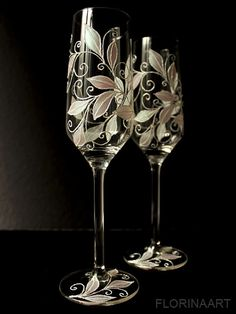 Wedding flutes.Champagne toasting glasses. by FLORINAART on Etsy