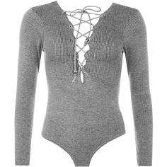 Rachelle Ribbed Lace Up Bodysuit ($24) ❤ liked on Polyvore featuring intimates, shapewear and grey