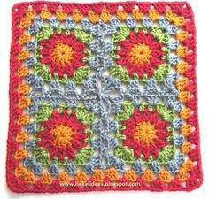 Sirkelblom granny square (pattern in Afrikaans) in Hekel Idees Crochet Squares, Crochet Granny, Knit Crochet, Granny Squares, Crochet Afghans, Afrikaans, Elsa, Needlework, Projects To Try
