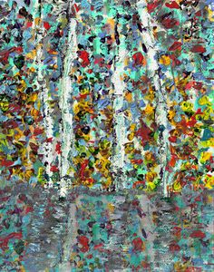 Trees on Lake 1 Painting Print on Wrapped Canvas