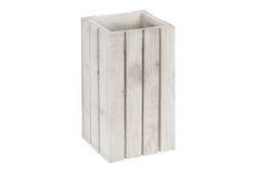 27€ Papelera hecha con madera de pino gallega envejecida pintado en blanco. Fabricada a mano en España. #papelera #madera #pino #blanco  Deskontalia Productos - Descuentos del 70%
