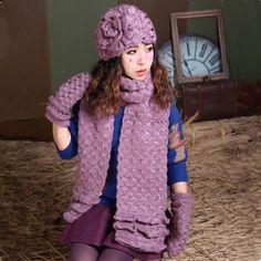 Plain knit flower beanie hat scarf and gloves set for women winter wear