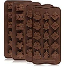 4 Pack Silicone Chocolate Candy Molds Trays, DanziX Baking Jelly Molds, Cake Decoration, with Decorating Tools, Cake Decorating, Christmas Tree And Santa, Candy Making Supplies, Santa Head, Cupcake Pans, Star Gift, Chocolate Candy Molds, Cake Makers