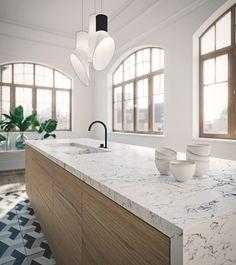 Caesarstone White Attica Quartz Kitchen Countertop with Light Brown Cabinet - Modern White Granite Countertops, Quartz Kitchen Countertops, Kitchen Benchtops, Granite Kitchen, Layout Design, Kitchen Interior, Kitchen Design, Living Room White, Ikea
