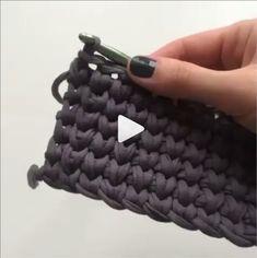 crochet tutorial How to knit basket crochet video tutorial Diy Crafts Crochet, Crochet Projects, Tunisian Crochet, Crochet Stitches, Free Crochet, Knitted Flower Pattern, Knitting Patterns, Crochet Patterns, Knitting Bags