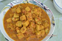 A tasty rustic curry made with besan (chana daal /split chickpea flour) squares.