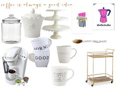 I'm obsessed with coffee and the the uber cute coffee cart trend! Check out my picks for my coffee cart on the blog now!