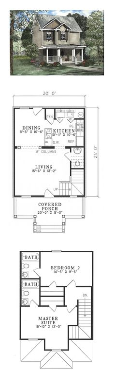 Narrow Lot House Plan 62323 | Total Living Area: 980 SQ FT, 2 bedrooms and 2.5 bathrooms. #narrowlothome