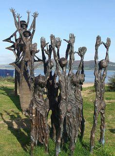 Flight of the Earls Sculpture at Rathmullan beach, Donegal, Ireland (artist not given). Love Ireland, Ireland Travel, Statues, Books Art, Sculpture Art, Bronze Sculpture, Metal Sculptures, Abstract Sculpture, Erin Go Bragh
