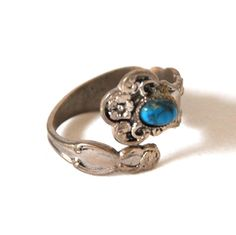 Vintage 70s Spoon Ring Size 5.5 Silver Plate Turquoise Stone Gem #Unbranded #SpoonRing