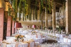 Rose gold wedding table - fairy lights and dangling ivy join romantic candelabras and sophisticated, custom made abat-jour crystal lamps for an eclectic wedding décor.