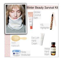 """Winter Beauty Survival Kit"" by mariotsala22 ❤ liked on Polyvore featuring beauty, Eve Lom, Yves Saint Laurent, Aesop, AERIN, BCBGMAXAZRIA and Nivea"
