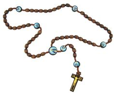 """Mens Womens Catholic Gift Our Lady of Grace Miraculous Mary 10MM Wood Bead Cord Rosary Necklace with Holy Prayer Card. Wood / Cord / Epoxy. Rosary Length: 19"""" / Crucifix Size: 1 3/4"""". Carded with Holy Prayer Card of Saint."""