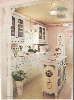 """Vintage Shabby Chic Kitchen, really like the smaller """"Island"""" here, like the idea of having more space."""