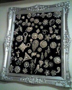 Framed vintage jewelry