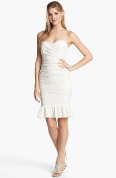 Jill Stuart Strapless Ruched Lace Dress | Nordstrom