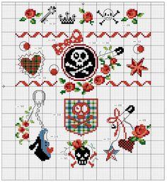 Skull and crossbones x-stitch Cross Stitch Boarders, Small Cross Stitch, Cross Stitch Cards, Cross Stitch Samplers, Cross Stitching, Cross Stitch Embroidery, Embroidery Patterns, Cross Stitch Patterns, Cross Stitch Skull