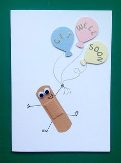 Child's get well soon card. Handmade get well soon cards. Get well soon cards. Plaster get well cards. Bandaid get well cards Tarjetas Diy, Diy And Crafts, Paper Crafts, Card Crafts, Get Well Cards, Get Well Gifts, Sympathy Cards, Creative Cards, Kids Cards