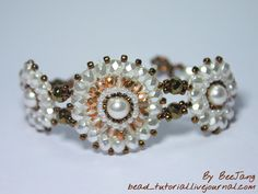 Tutorial for brick stitch bracelet - components could be used as pendants or earrings.