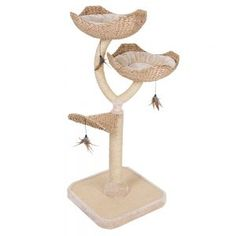 Chic Flower-Shaped Cat Tree With Thick Sisal-Wrapped Metal Pillars And Woven Platforms- Sturdy Scratching Posts Excellent For Large And Heavy Cats