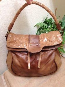 4a7d403d12 SR Squared Sondra Roberts Brown Fold Over Leather Croc Trim Handbag Hobo L  XL