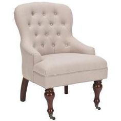 @Overstock - Sutton Tufted Beige Arm Chair. Create an elegant space with help from this beautiful tufted armchair. With its English design and sophisticated curves, this chair will be the highlight of any room. Its beige linen fabric makes it well-suited for a variety of color schemes.http://www.overstock.com/Home-Garden/Sutton-Tufted-Beige-Arm-Chair/6248030/product.html?CID=214117 $254.99