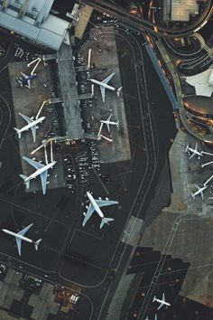 planes at the airport - aerial view.