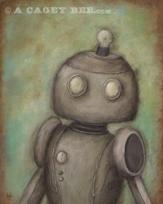 Cecil - Robot No. 3 - acrylic painting art print, giclee print, robot art, kids room decor. $18.00, via Etsy.