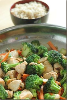 Broccoli Chicken Stir fry - 1/4 cup soy sauce, 3 Tbl Honey, Garlic, Red Onion and Ginger  =  Delish!!