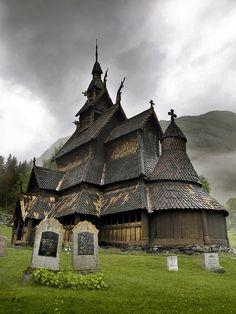 Borgund Stave Church in Borgund, Norway