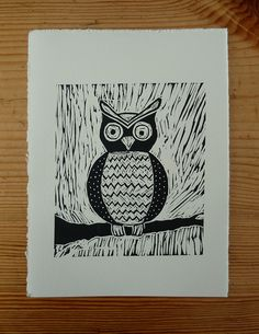 Owl lino print by Louche123, via Flickr