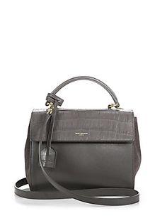 Saint Laurent Saint Laurent Small Leather & Suede Moujik Satchel