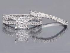 Unique Princess Cut Engagement Rings | 15 carat Princess Cut Diamond Engagement Ring Unique Bridal Set ...