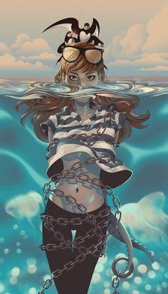 "saved s""Island"" - Alex Arizmendi {chained female tentacles underwater woman digital illustration} Inspiration Art, Character Inspiration, Character Art, Animation Character, Character Sketches, Creative Inspiration, Art Et Illustration, Character Illustration, Art Illustrations"