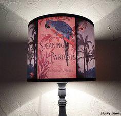 Speaking Parrots tiki tropical lamp shade lampshade  unique