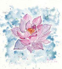 Watercolor flowers lotus pink and bleu. Illustration poster watercolor print.