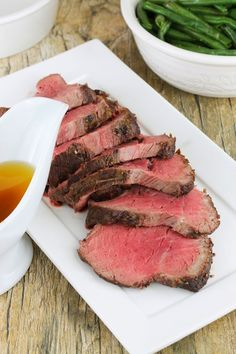 The Stay At Home Chef: Roasted Beef Tenderloin with Garlic Brown Butter Sauce Slow Cooker Recipes, Beef Recipes, Cooking Recipes, Fun Recipes, Recipies, Dinner Recipes, Beef Tenderloin Recipes, Roast Beef, Beef Steaks