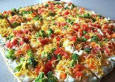 Vegetable Pizza  Crescent Rolls, 2 cans CreamCheese,  softened,1/2 cup mayo  shredded cheese, if desired  1 package dry ranch dressing  assorted chopped veggies   Roll crescent rolls out flat in large baking dish, sprayed with cooking spray or rubbed with oil. Bake 350 for about 8-10 minutes or until golden brown. Set aside to cool. In bowl, mix mayo, softened cream cheese, and dry ranch dressing. Spread mixture on top of cooled crescent rolls. Add on your chopped veggies. Refrigerate…