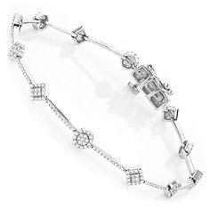 Diamond Bracelets 14K Gold Ladies Diamond Bracelet 1.24