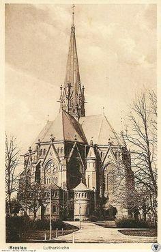 Kościół Lutra, rzadkie ujęcie od strony prezbiterium.Rok 1930 Luther, Gothic Architecture, Kirchen, Travel Abroad, 1 Maja, Poland, Taj Mahal, Germany, Ul