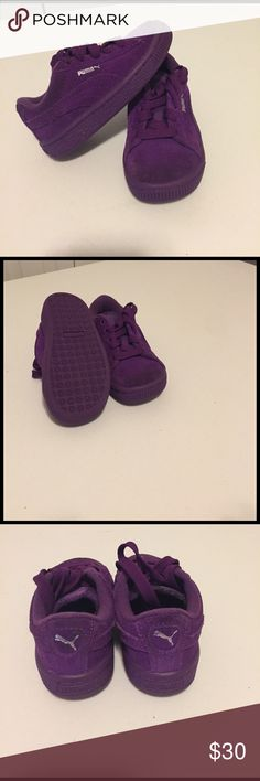 Purple suede Puma sneakers. Toddler girls Pumas. Very good condition hardly worn. Puma Shoes Sneakers