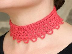 Items similar to Crochet Choker Necklace Silk Cotton blend - Made to order - You pick color on Etsy